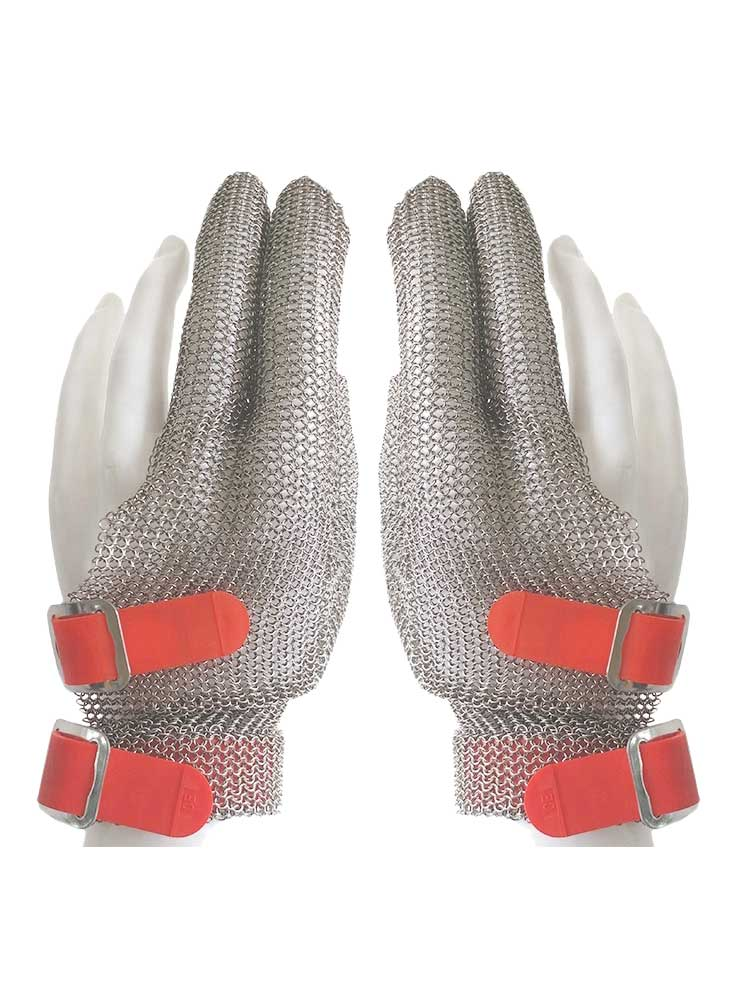 MK3301-Three Finger Stainless steel Glove with Silicone Rubber Strap