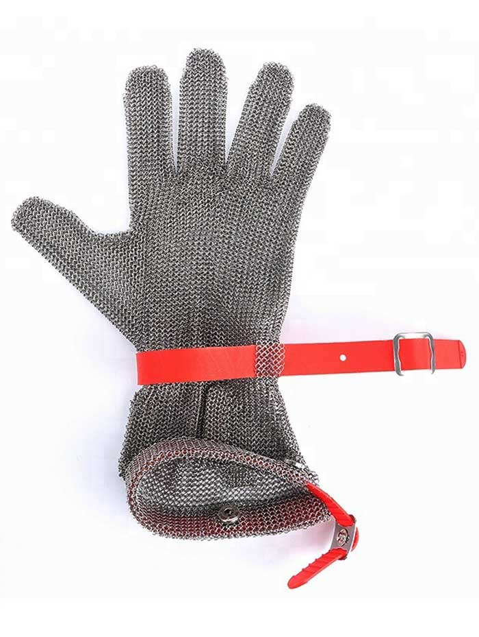 MK1301 Full Protection Ring Mesh Gloves with Long Sleeve Silicone Rubber Strap