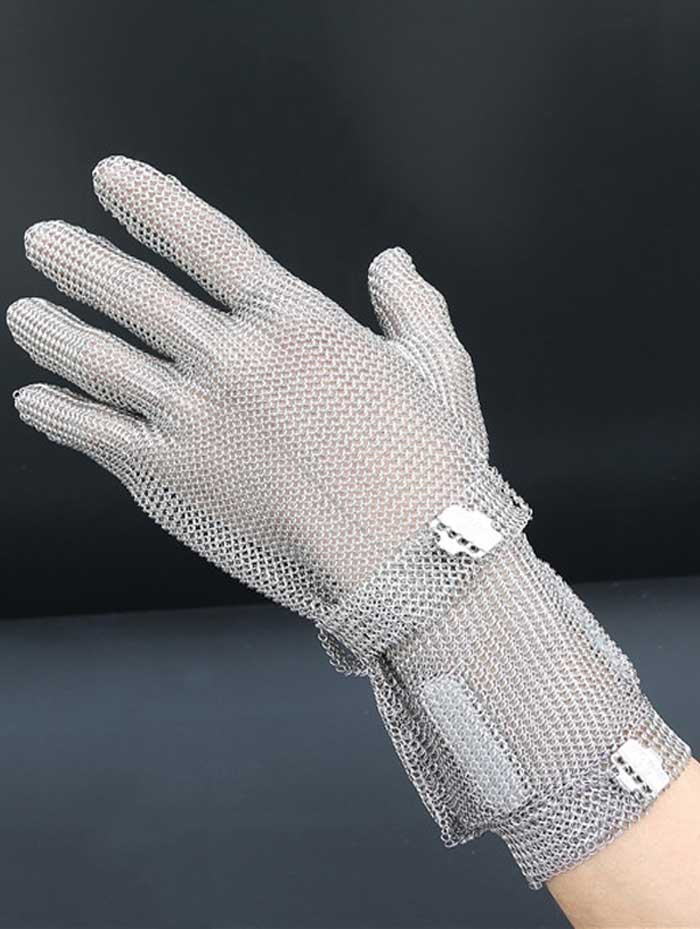 MK1201-Five Finger Wrist Ring Mesh Glove With Extended Hook Cuff
