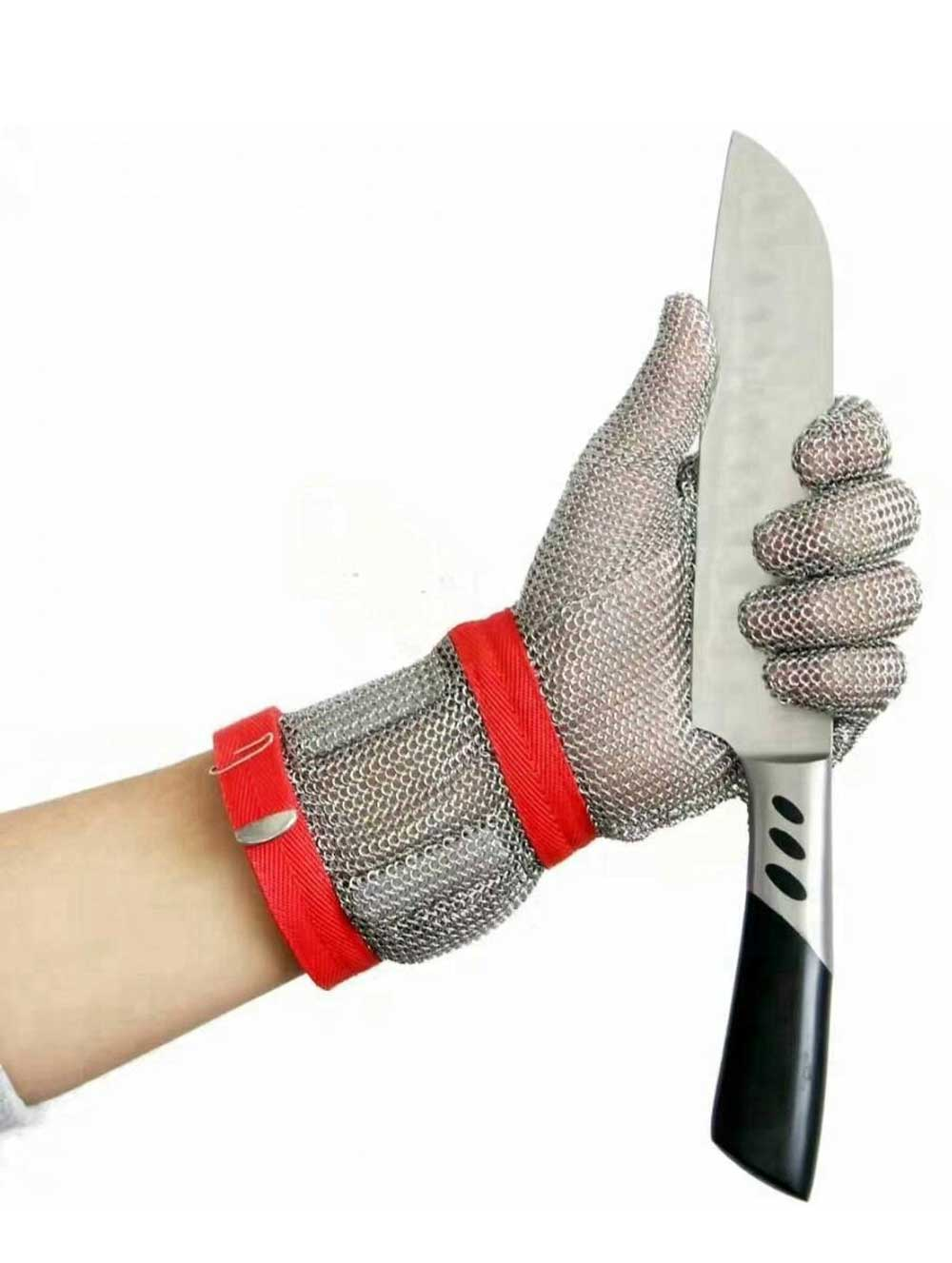 MK1101-Five Finger Wrist Stainless Steel Glove With Extended Textile Cuff