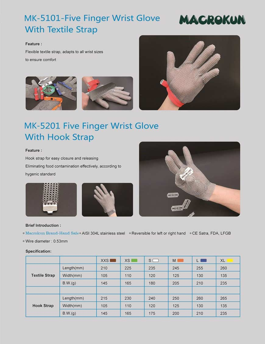 Five Fingers Cut Resistant Gloves-stainless steel ring mesh gloves
