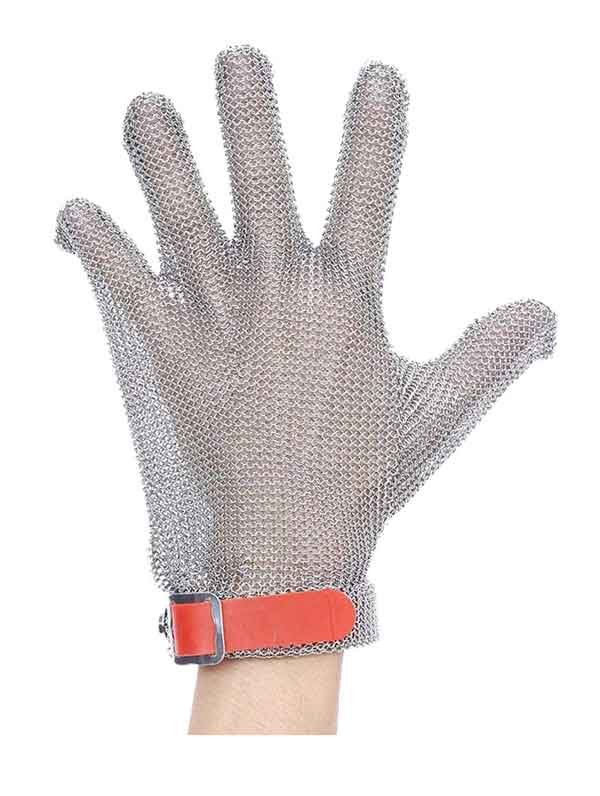MK5301 Five Finger Stainless Steel Glove with Silicone Rubber Strap
