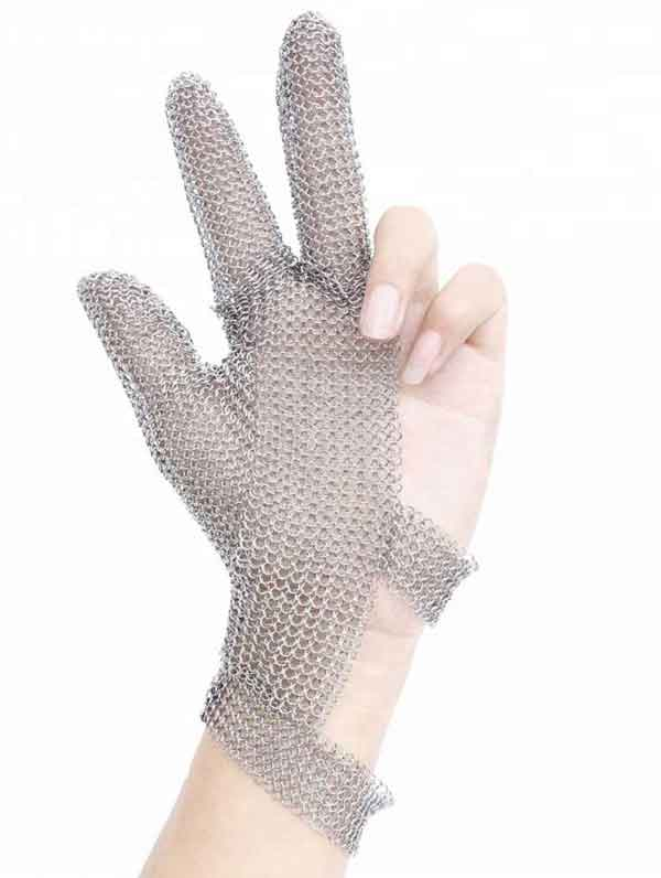 MK3201-Three Finger Wrist Ring Mesh Glove With Hook Strap