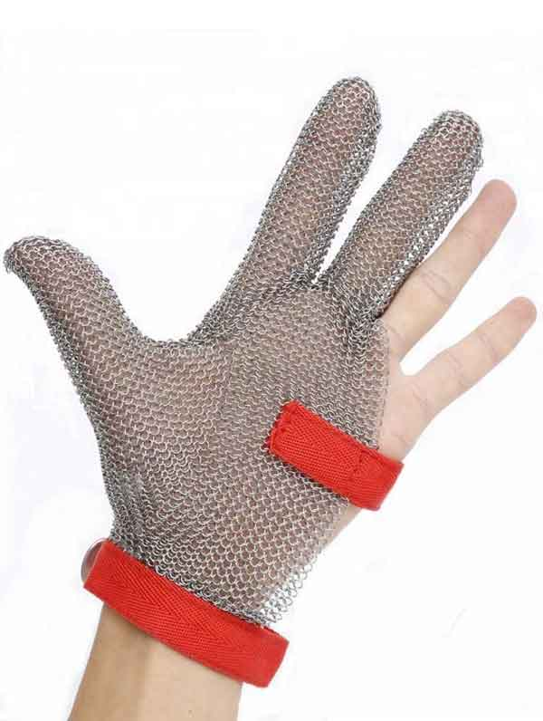 MK3101-Three Finger Stainless steel Gloves With Textile strap